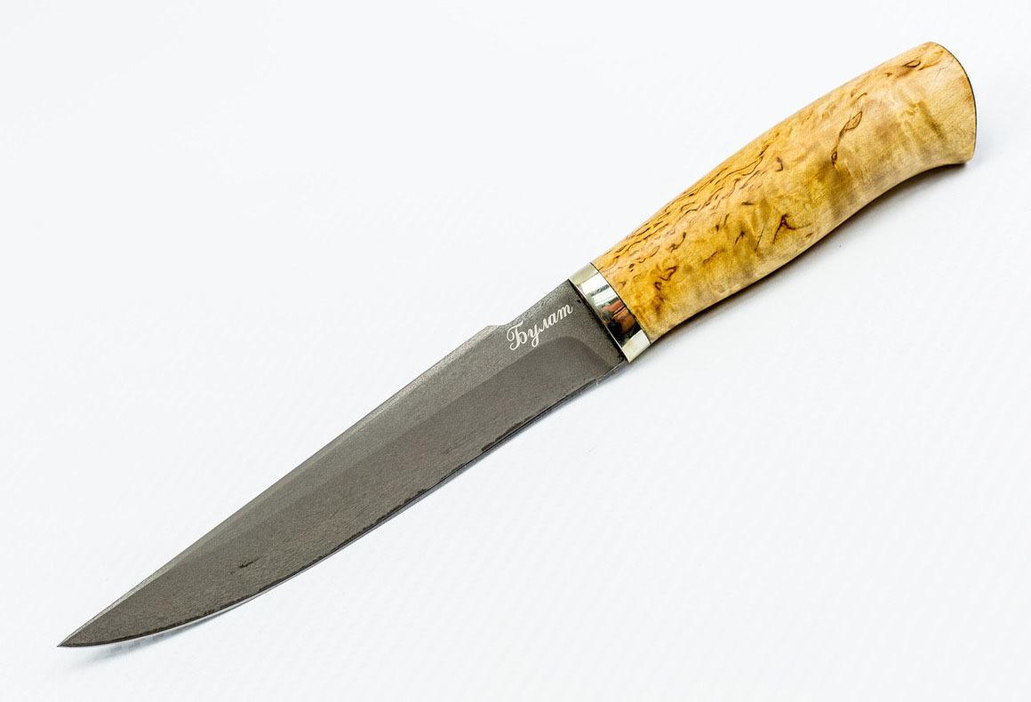 Нож Пума, сталь булат, карельская береза