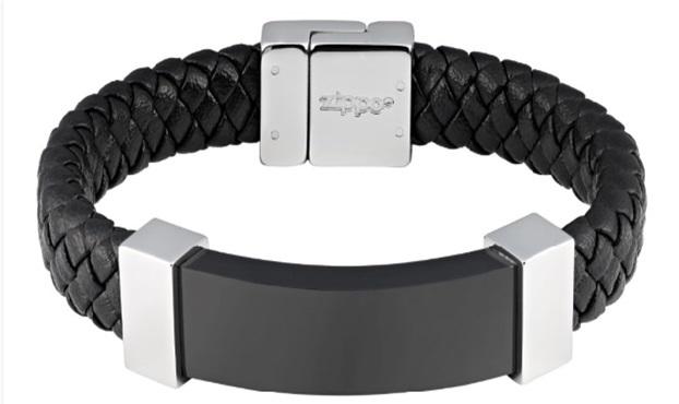 Фото - Браслет ZIPPO, чёрный, нержавеющая сталь/натуральная кожа, 20x1,40x0,80 см