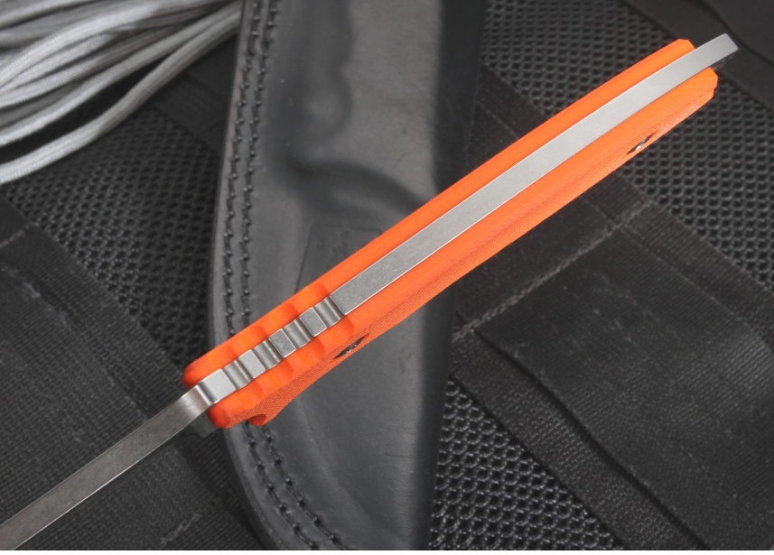 Фото 6 - Нож с фиксированным клинком HB Fixed, Orange G-10 Handle, Stonewashed Crucible CPM® S35VN™, William (Bill) Harsey Design (Black Leather Sheath) 9.0 см. от Fantoni