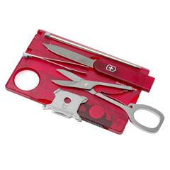 Швейцарская карта Victorinox SwissCard Lite, сталь X50CrMoV15, рукоять ABS-пластик, полупрозрачный красный, блистер, фото 3