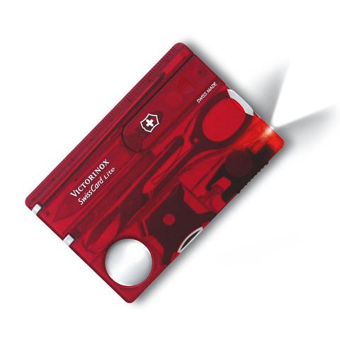 Швейцарская карта Victorinox SwissCard Lite, сталь X50CrMoV15, рукоять ABS-пластик, полупрозрачный красный, блистер. Вид 1