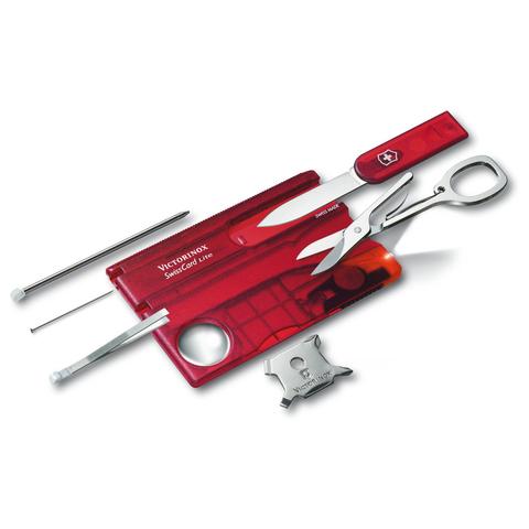 Швейцарская карта Victorinox SwissCard Lite, сталь X50CrMoV15, рукоять ABS-пластик, полупрозрачный красный, блистер. Вид 4