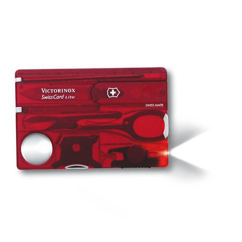Швейцарская карта Victorinox SwissCard Lite, сталь X50CrMoV15, рукоять ABS-пластик, полупрозрачный красный, блистер. Вид 2