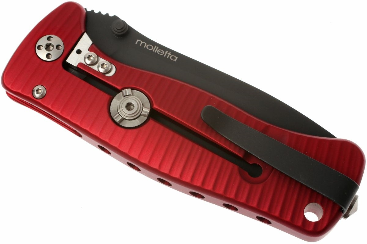 Фото 10 - Нож складной LionSteel SR2A RB Mini, сталь Uddeholm Sleipner® Black Finish, рукоять алюминий (Solid®), красный от Lion Steel