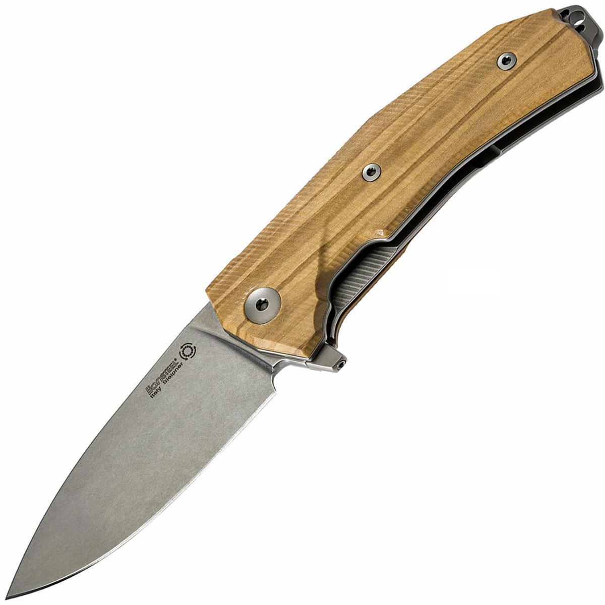 Нож складной LionSteel KUR UL Olive Wood Flipper, сталь Uddeholm Sleipner®, рукоять оливковое дерево