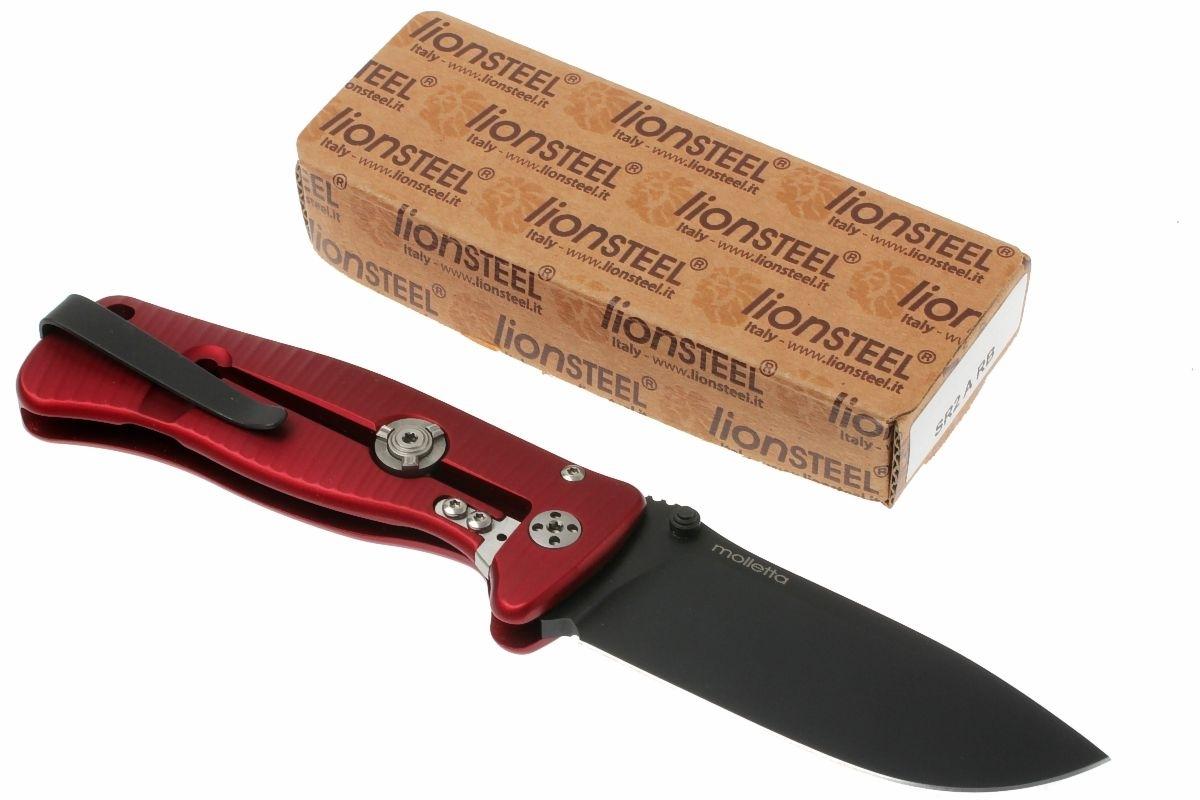 Фото 5 - Нож складной LionSteel SR2A RB Mini, сталь Uddeholm Sleipner® Black Finish, рукоять алюминий (Solid®), красный от Lion Steel