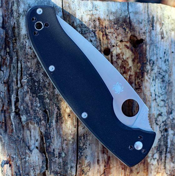 Фото 8 - Нож складной Resilience™ Spyderco C142GP, сталь 8Cr13MOV Satin Plain, рукоять стеклотекстолит G-10, чёрный