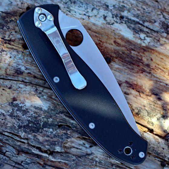 Фото 9 - Нож складной Resilience™ Spyderco C142GP, сталь 8Cr13MOV Satin Plain, рукоять стеклотекстолит G-10, чёрный