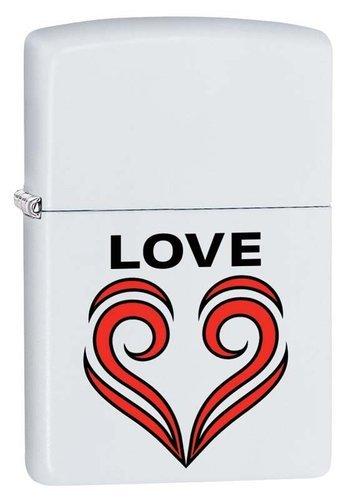 Зажигалка ZIPPO 214 Love Theme с покрытием White Matte, латунь/сталь, белая, матовая, 36x12x56 мм