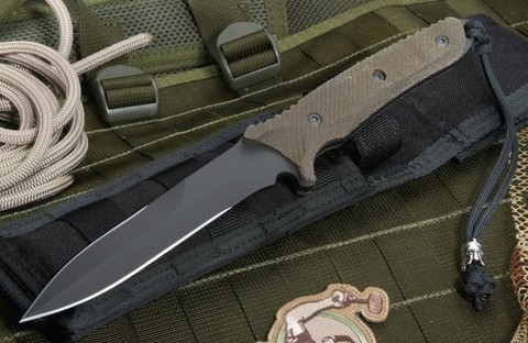 Нож с фиксированным клинком Spartan Breed Fighter (Black SpartaCoat/Green Micarta/Black Molle Sheath) 13.97 см.