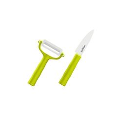 Набор BAMBOO Фруктовый нож и овощечистка Samura Eco циркониевая керамика,зелёные рукояти