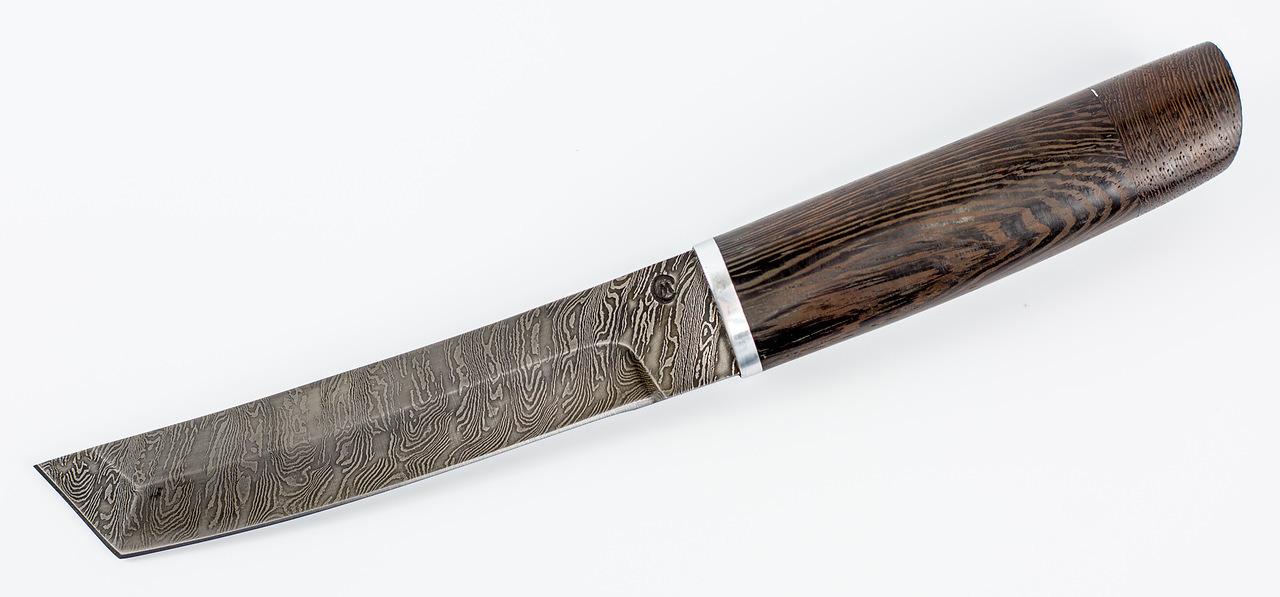 Фото 14 - Нож Танто-2, сталь дамаск, рукоять венге от Кузница Семина