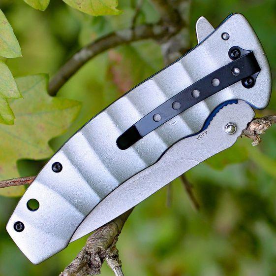 Фото 6 - Нож складной Magnum Blue Drop, сталь 440А Stonewash Plain, рукоять анодированный алюминий, серый, Boker 01RY199