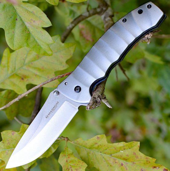 Фото 4 - Нож складной Magnum Blue Drop, сталь 440А Stonewash Plain, рукоять анодированный алюминий, серый, Boker 01RY199