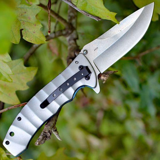 Фото 5 - Нож складной Magnum Blue Drop, сталь 440А Stonewash Plain, рукоять анодированный алюминий, серый, Boker 01RY199