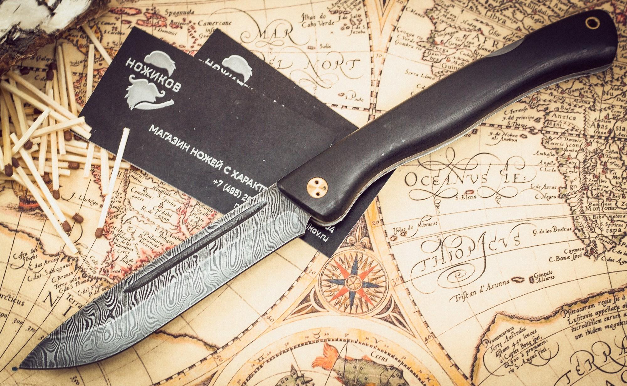Фото 5 - Складной нож Лесничий, дамаск, граб от Марычев