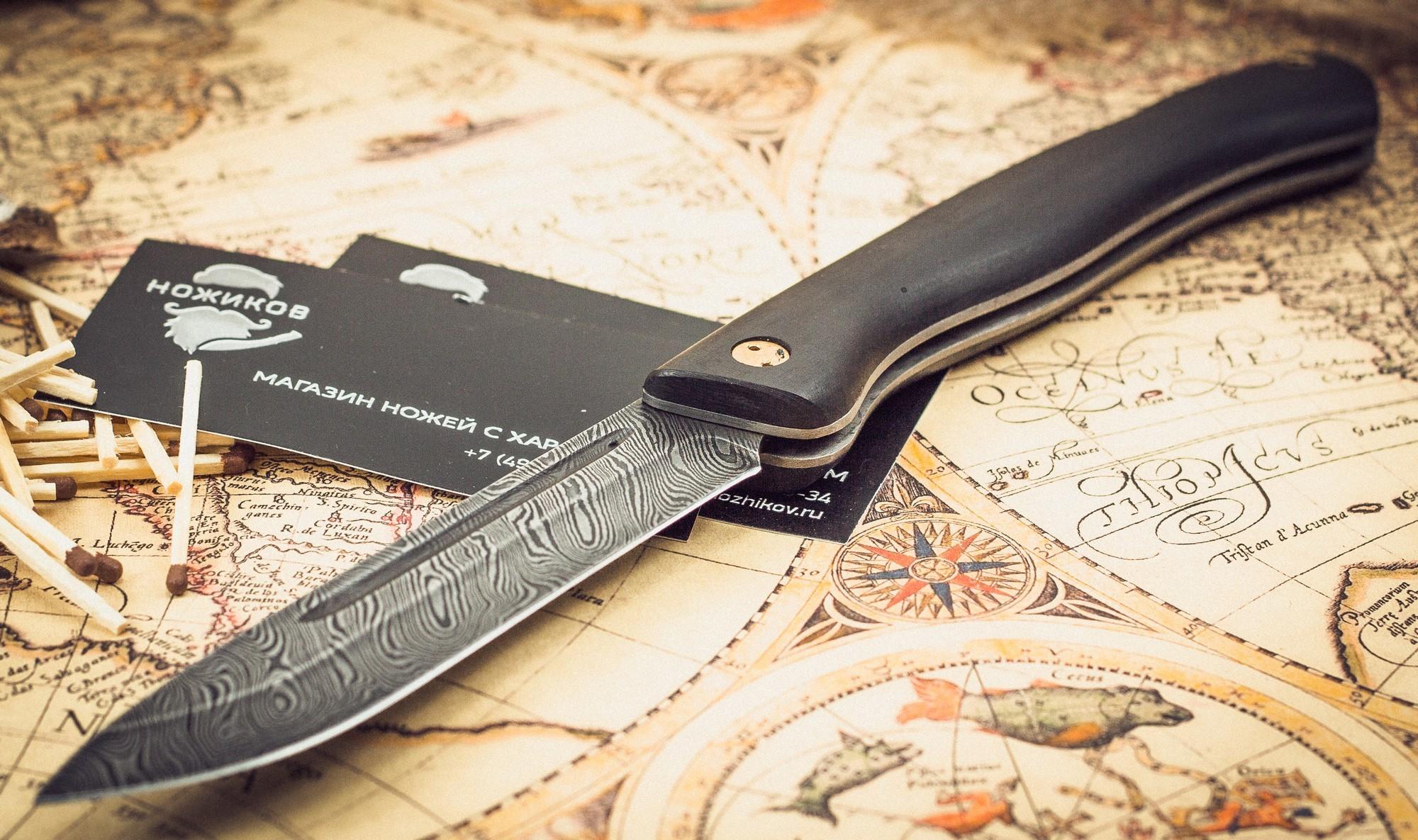 Фото 6 - Складной нож Лесничий, дамаск, граб от Марычев