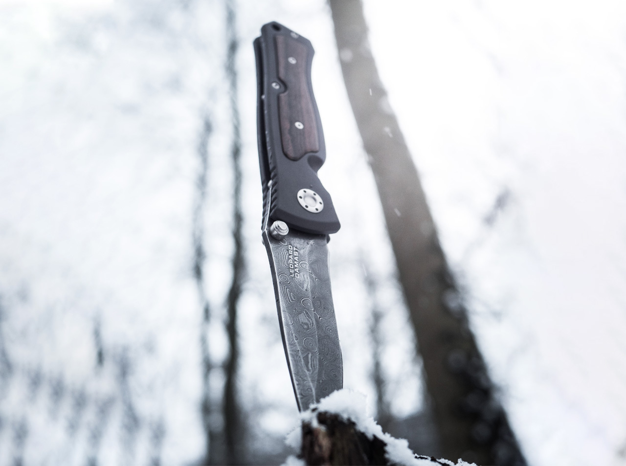 Фото 12 - Нож складной Leopard Damascus II - Boker 111054DAM, дамасская сталь Plain, рукоять анодированный алюминий/дерево, коричневый