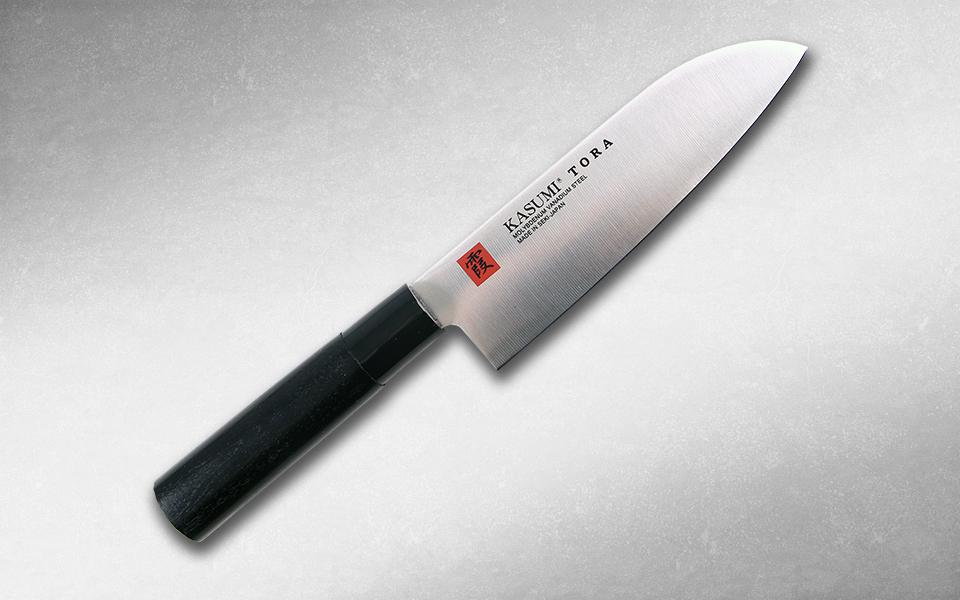 Нож кухонный Сантоку,Tora 165 мм, Kasumi, 36841, сталь AUS-6A, стабилизированная древесина, чёрный