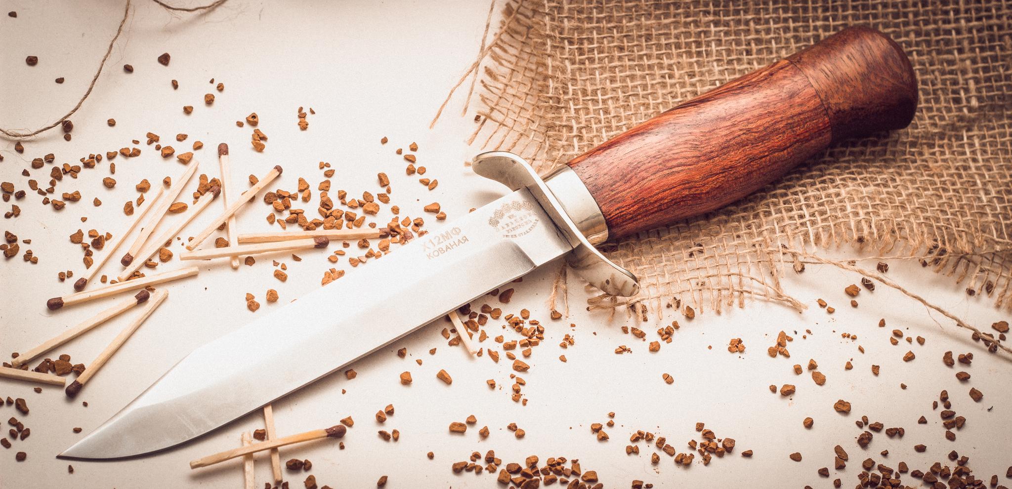 цена на Нож разведчика, кованый Х12МФ, орех