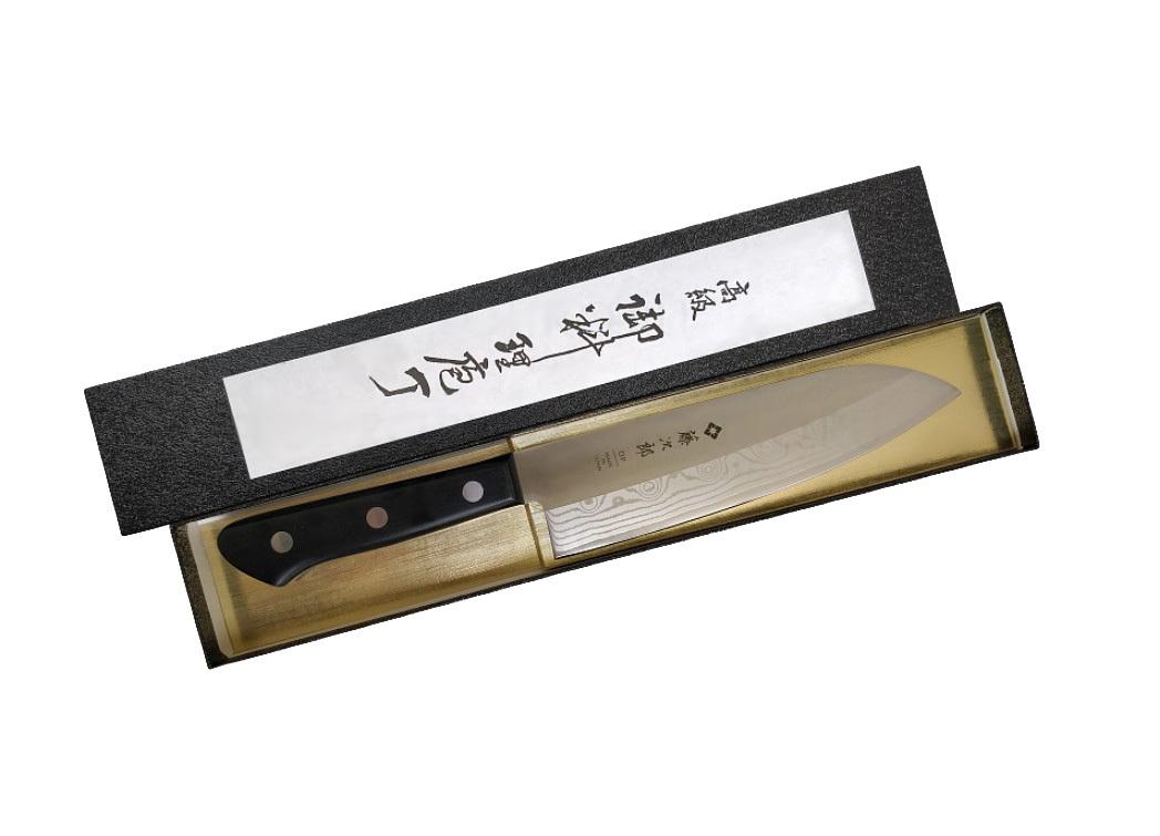 Фото 6 - Нож Сантоку Western Knife Tojiro, F-331, сталь VG-10, чёрный, в картонной коробке