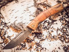 Складной нож Нижегородец, дамаск, береста
