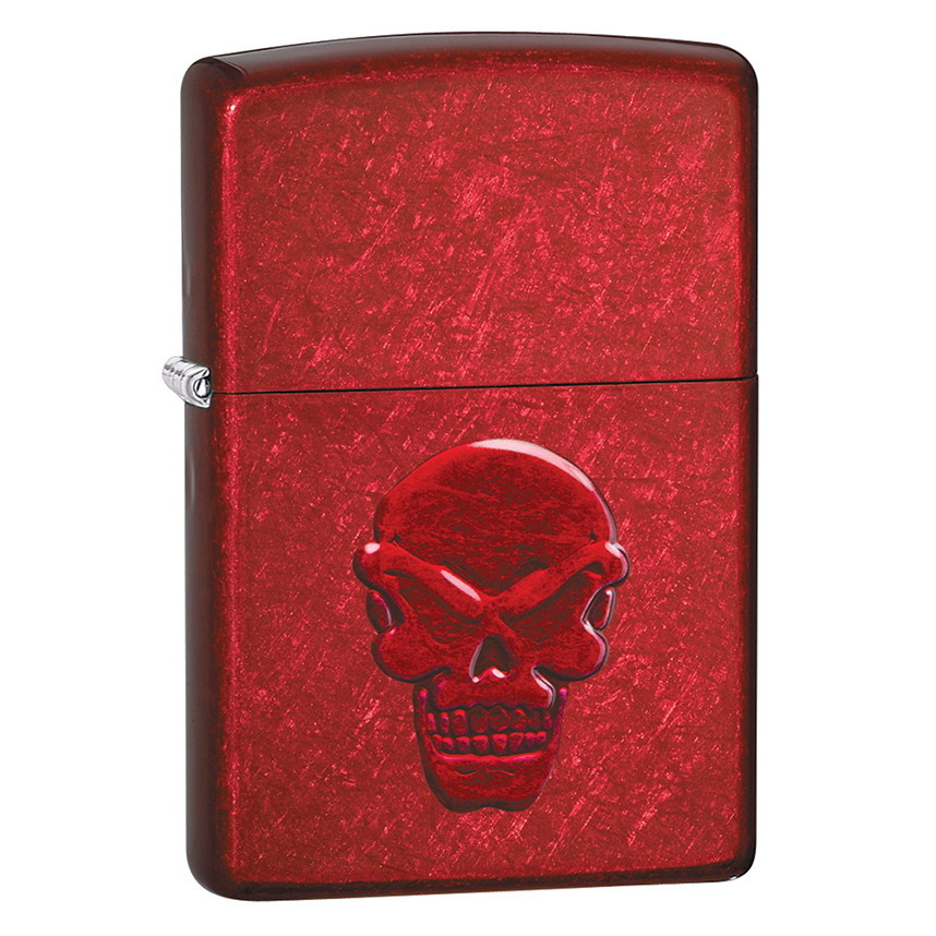 Зажигалка ZIPPO Doom с покрытием Candy Apple Red, латунь/сталь, красная, глянцевая, 36x12x56 мм