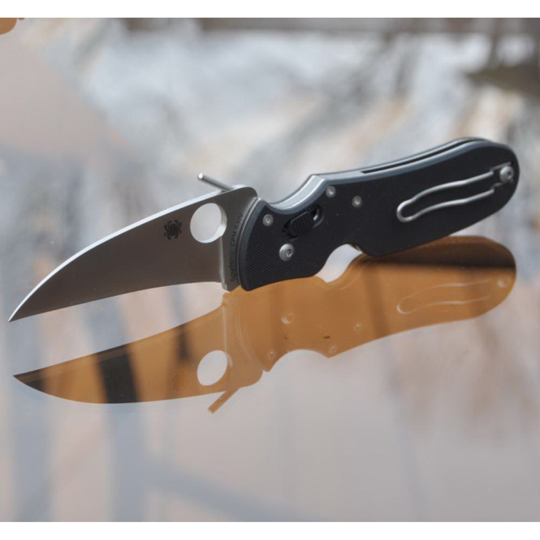 Фото 8 - Нож складной P'Kal™ Spyderco 103GP, сталь Crucible CPM® S30V™ Satin P'Kal's PlainEdge™, рукоять стеклотекстолит G-10, чёрный