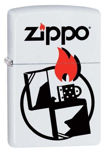 Зажигалка ZIPPO 214 Zippo с покрытием White Matte, латунь/сталь, белая, матовая, 36x12x56 мм
