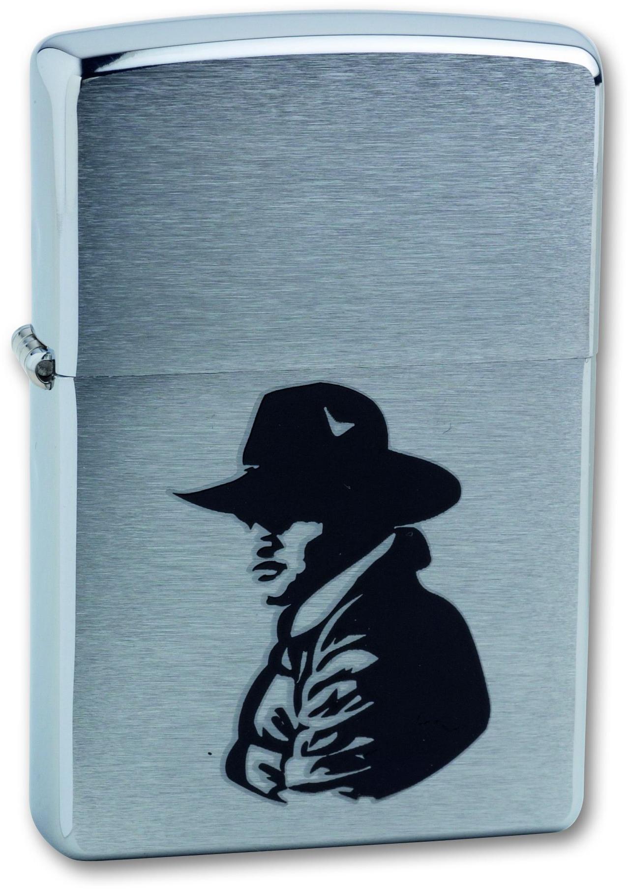 Зажигалка ZIPPO Bronco Cowboy Brushed Chrome, латунь, ник.-хром. покр., сереб., матов., 36х56х12 мм