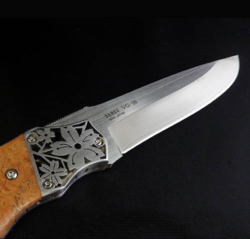 Фото 11 - Туристический нож G.Sakai, Sakura 2 Fixed, 11431, сталь VG-10, Дерево Айва karin-kobu, в подарочной картонной коробке