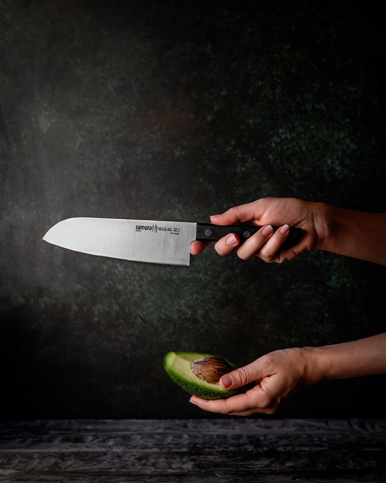 Фото 9 - Нож кухонный овощной сантоку Samura