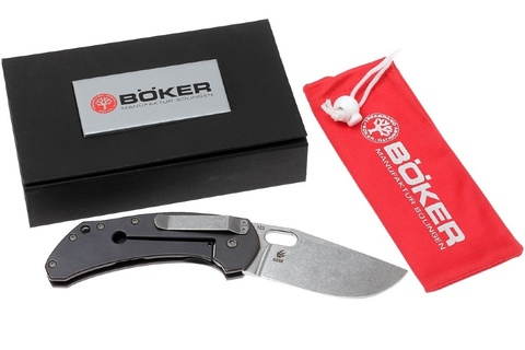 Нож складной Boker Plus Aurora, Jens Anso Design, сталь 154CM Stonewash Plain, рукоять титан, Boker 112629