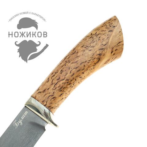 Нож Тюлень, сталь булат, карельская береза. Вид 3