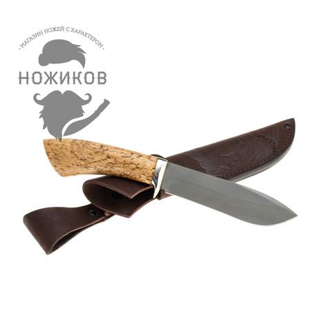 Нож Тюлень, сталь булат, карельская береза. Вид 4