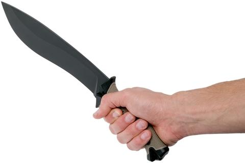 Кукри мачете Camp 10 TAN - Kershaw 1077TAN, сталь 65MN Carbon, рукоять прорезиненный термопластик, коричневый