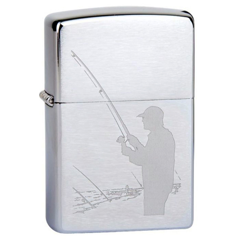 Зажигалка ZIPPO Fisherman Brushed Chrome, латунь, ник-хром. покр., сереб., матов., 36х56х12 мм