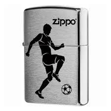 Зажигалка ZIPPO 200 Soccer Player с покрытием Brushed Chrome, латунь/сталь, серебристая, 36x12x56 мм