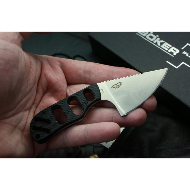 Фото 6 - Нож с фиксированным клинком шейный Chad Los Banos Design SFB Neck, Boker Plus 02BO321, сталь 440C Satin, рукоять стеклотекстолит G10