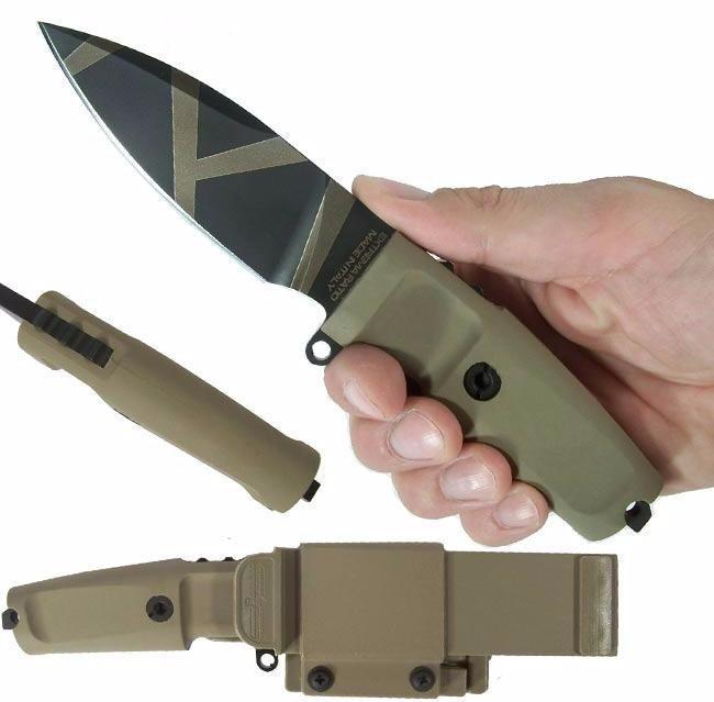 Фото 4 - Нож с фиксированным клинком Extrema Ratio Shrapnel OG Desert Warfare - Laser Engraving, сталь Bhler N690, рукоять пластик