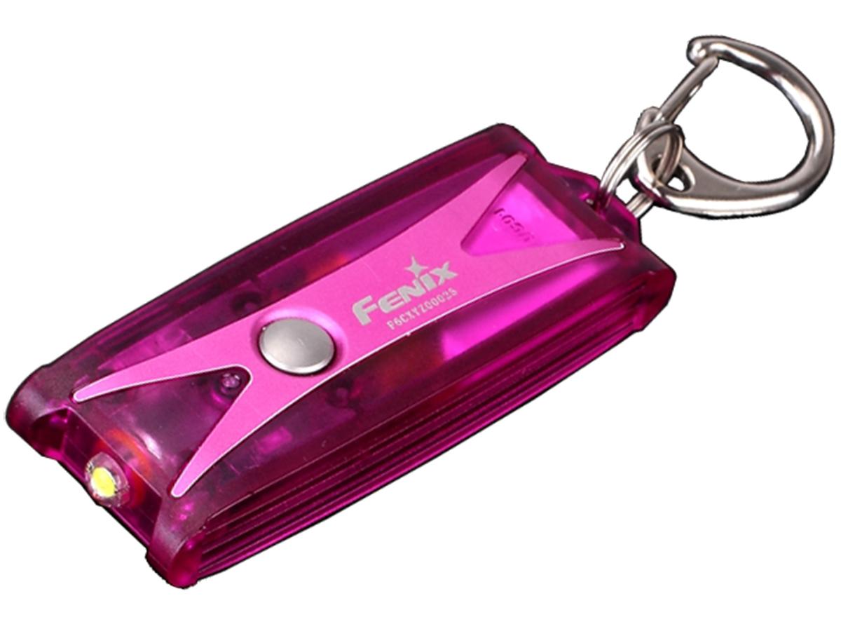 Фонарь Fenix UC01, розовыйНесмотря на свои компактные размеры, фонарь Fenix UC0 имеет довольно высокий уровень яркости в 45 люмен. Кроме этого, имеются еще два режима яркости – 20 и 1 люмен. Заряжается данный светодиодный фонарик-брелок с карабином при помощи micro-USB кабеля около двух часов, о степени заряда сигнализирует зеленый, красный или красный мигающий свет (соответственно 100%, 50% или 20% заряда). При этом полного объема батареи хватает на 50 часов работы с минимальной и на 1 час 20 минут с максимальной мощностью. Мини фонарь-брелок имеет довольно прочный корпус и защиту от воды класса IPX-6.<br>Особенности:<br><br>брелочный форм-фактор;<br>яркость света — 45 люмен;<br>максимальная дистанция освещения — 7 метров;<br>три режима яркости;<br>простая система управления;<br>вес фонаря — 13 грамм;<br>аккумулятор — встроенный;<br>индикатор уровня зарядки;<br>запоминание выбранного режима;<br>защита от влаги IPX-6.