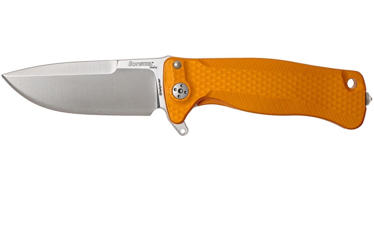 Фото 2 - Нож складной LionSteel SR22A OS Mini, сталь Uddeholm Sleipner® Satin Finish, рукоять алюминий (Solid®), оранжевый от Lion Steel