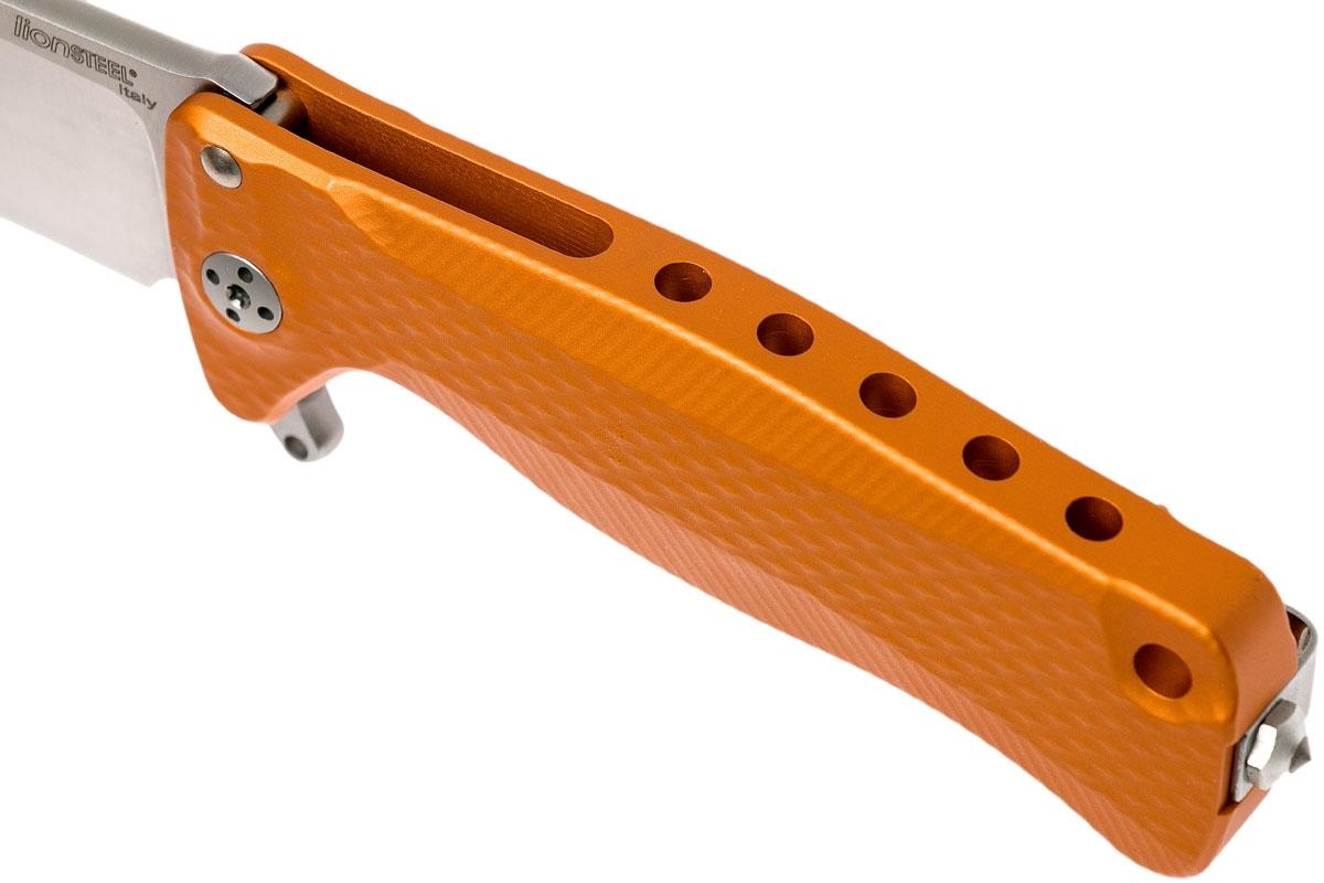 Фото 8 - Нож складной LionSteel SR22A OS Mini, сталь Uddeholm Sleipner® Satin Finish, рукоять алюминий (Solid®), оранжевый от Lion Steel