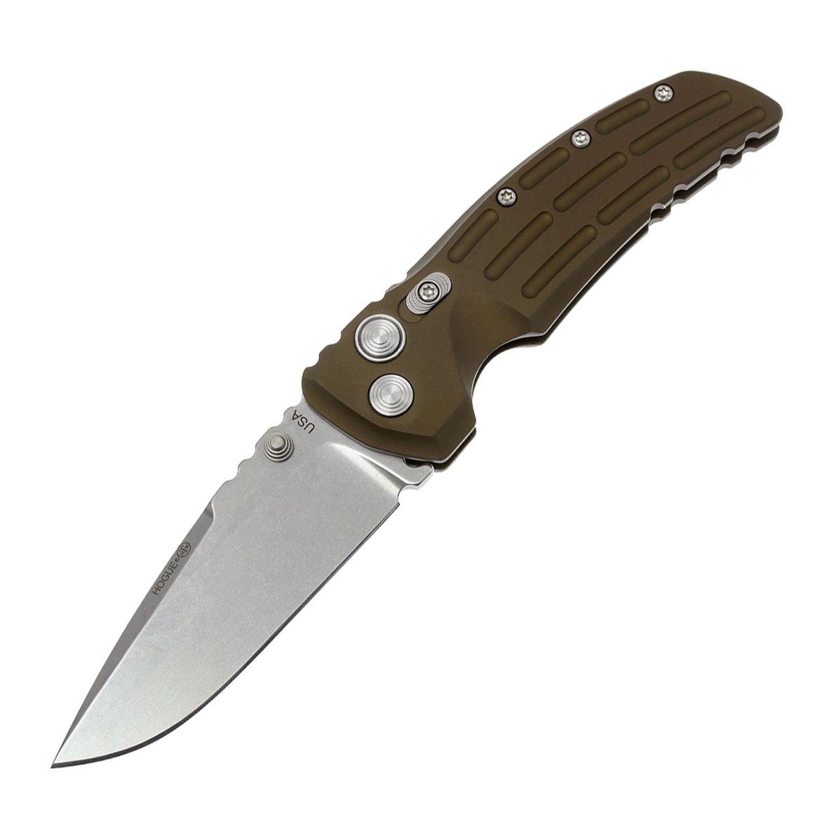 Нож складной Hogue EX-01 Drop Point, сталь 154CM, рукоять алюминиевый сплав, зеленый