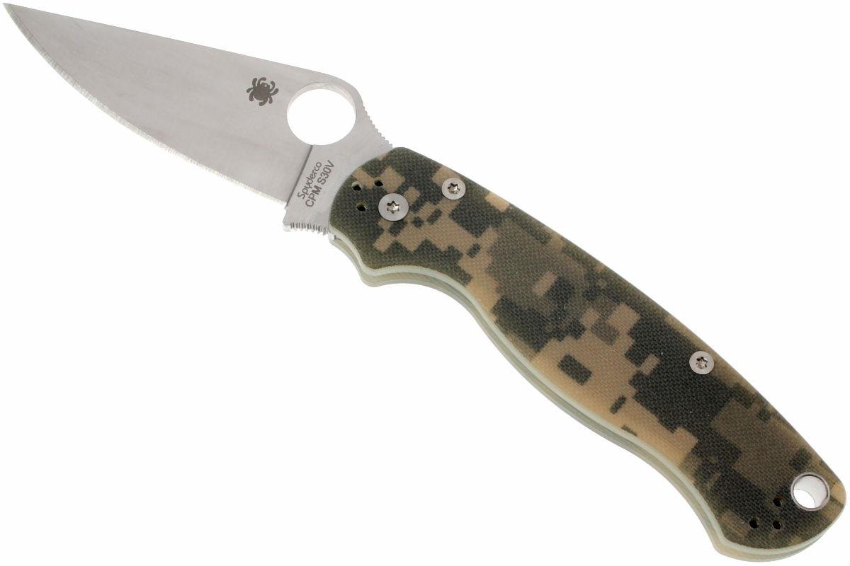 Фото 11 - Нож складной Para Military 2 - Spyderco C81GPCMO2, сталь CPM® S30V™ Satin Plain, рукоять стеклотекстолит G10, цифровой камуфляж (Digi Camo)