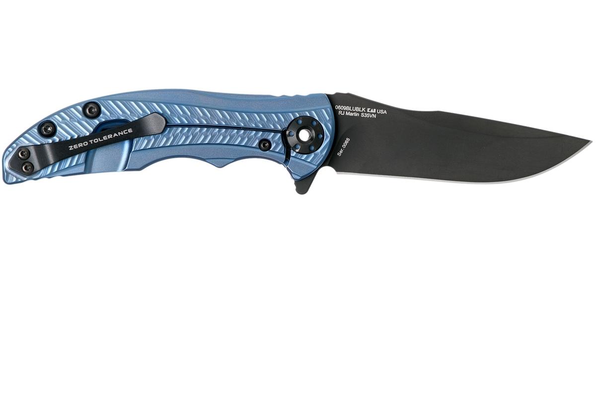 Фото 8 - Складной нож Zero Tolerance 0609BLUBLK, сталь CPM-S35VN, покрытие Black DLC, рукоять титан