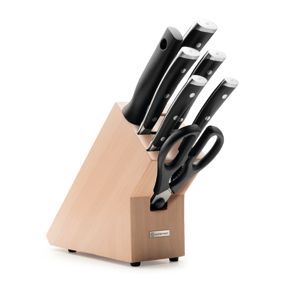 Набор ножей 5 предметов + мусат+ ножницы, на подставке Classic Ikon, Wuesthof