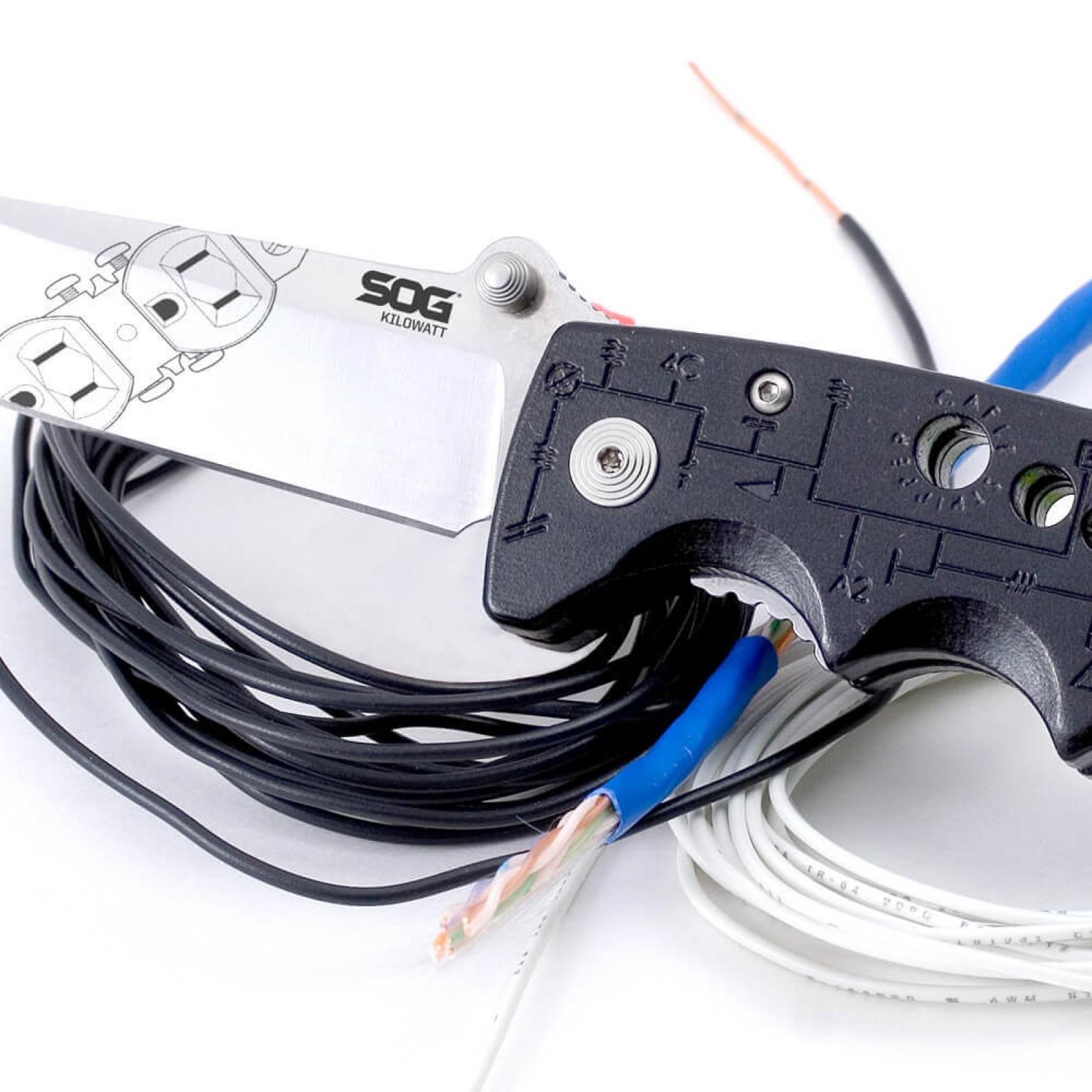 Фото 13 - Складной нож электрика со стриппером Kilowatt - SOG EL01, сталь AUS-8, рукоять термопластик GRN