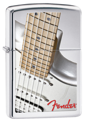 Зажигалка ZIPPO Fender с покрытием High Polish Chrome, латунь/сталь, серебристая, 36x12x56 мм