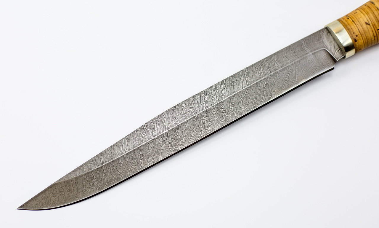 Фото 8 - Нож Фараон, сталь дамаск, рукоять береста от Кузница Семина